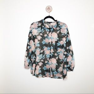 American Eagle Plus Size Floral Printed Blouse